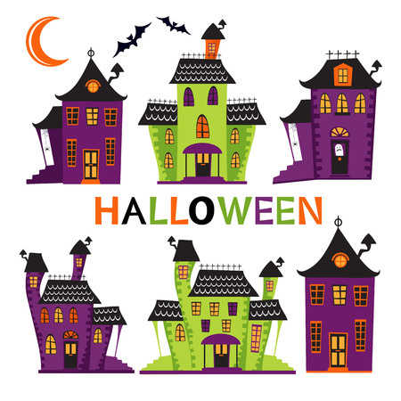 halloween symbol: Halloween haunted houses collection. vector format illustration