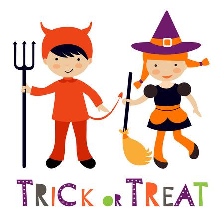 halloween kids: Cute colorful Halloween kids set. Vector illustration Illustration