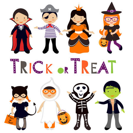 tricks: Cute colorful Halloween kids set. Vector illustration Illustration