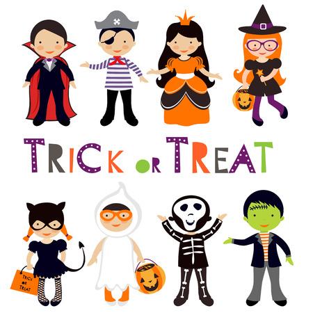 treats: Lindos coloridos niños de Halloween conjunto. Ilustración vectorial