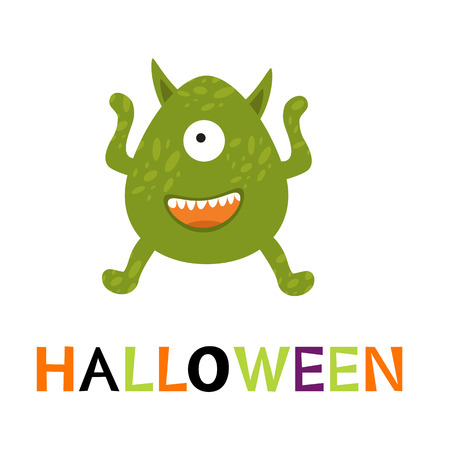 cute monster: Halloween card with cute monster. vector illustration