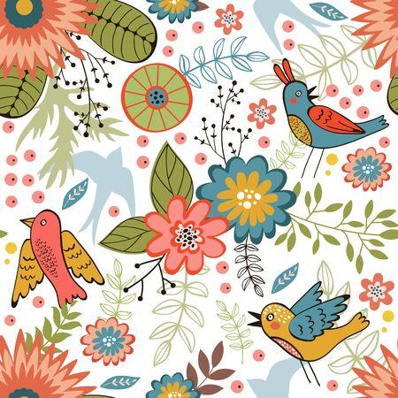 oiseau dessin: Pattern coloré avec des oiseaux et des fleurs épanouies. Vector illustration
