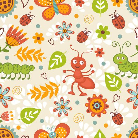 animal pattern: Cute bugs colorful seamless pattern in vector format
