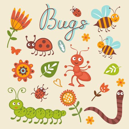 ant leaf: Linda colección de pequeños insectos felices. ilustración vectorial