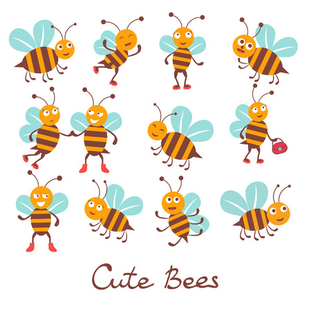 collection: Cute colorfulbee characters set illustration in vector format