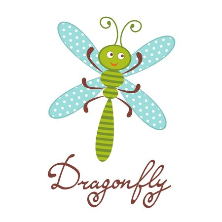 character illustration: Cute colorful dragonfly character illustration in vector format