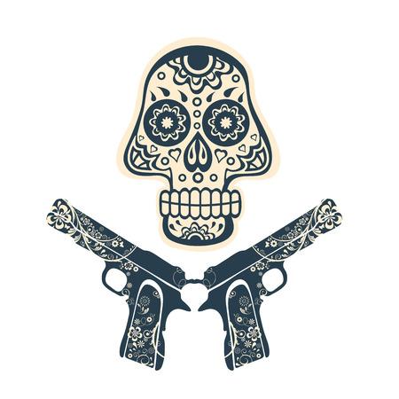 pistolas: Dibujado a mano cráneo con pistolas en un fondo sucio en el estilo vintage. Ilustración vectorial