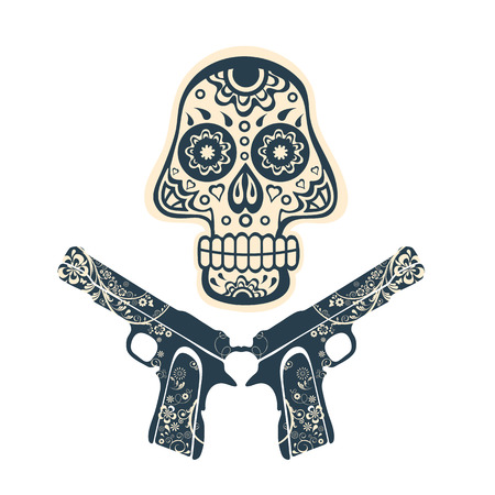 guns: Hand drawn skull with guns on a grungy background in vintage style. Vector illustration