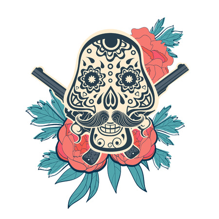 arm tattoo: Hand drawn sugar skull with flowers and guns. vector iilustration Illustration