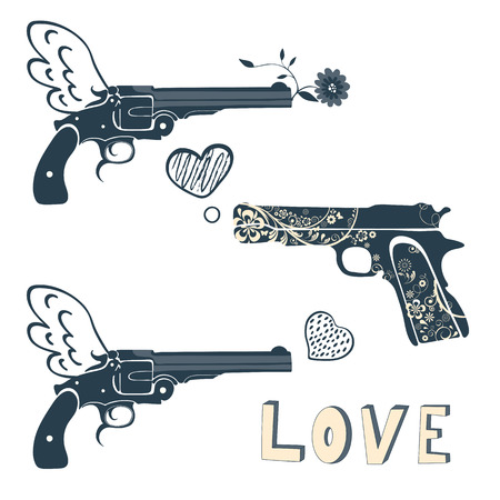 gun shot: Love guns set. Vintage emblems with gun shooting a heart. vector illustration