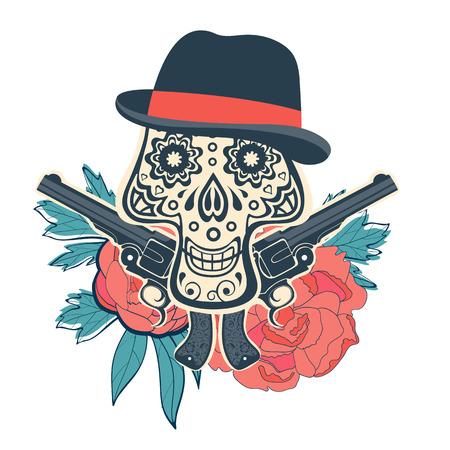 head shot: Hand drawn sugar skull with flowers and guns. vector iilustration Illustration