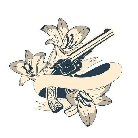 lilly: Classic revolvers and lilly flowers emblem. vector illustration Illustration