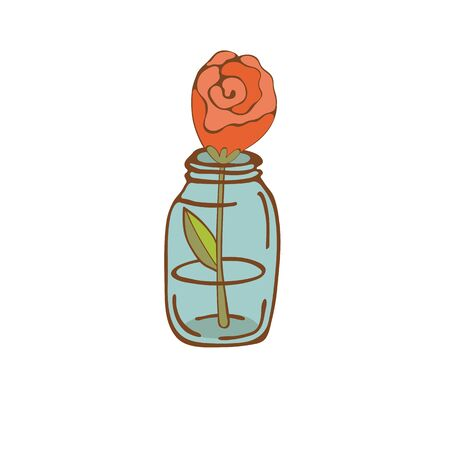 beautiful rose: Beautiful rose in glass jar. vector illustration Vectores
