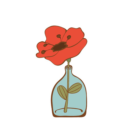 glass bottle: Beautiful poppy flower in glass bottle. vector illustration