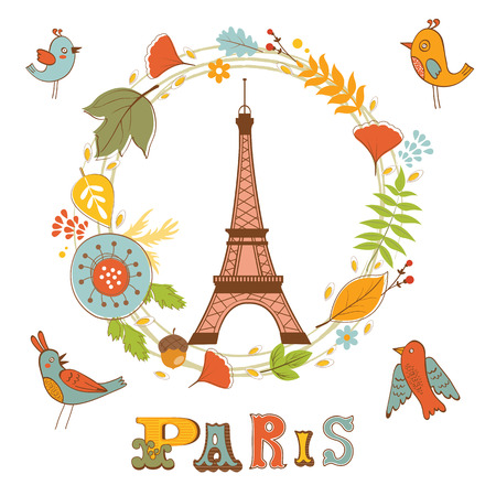 places of interest: Autumn in Paris. Elegant card with floral wreath, birds  and Eiffel tower. vector illustration