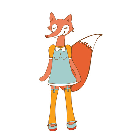 character illustration: Elegant card with cute fox character. Illustration in vector format Illustration