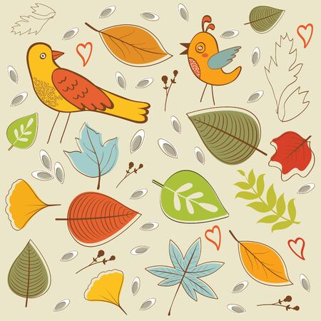 vintage patterns: Autumn pattern with birds, flowers and leaves. vector illustration Illustration