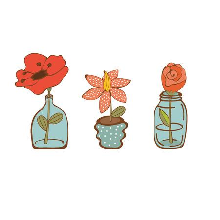 houseplants: Beautiful set of hand drawn houseplants. vector illustration