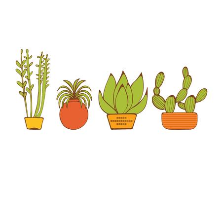 Bella serie di piante d'appartamento disegnati a mano. illustrazione vettoriale Archivio Fotografico - 44899827
