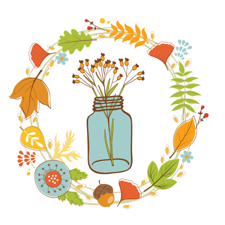 terrarium: Wild flowers in a glass jar with floral wreath. Vector illustration
