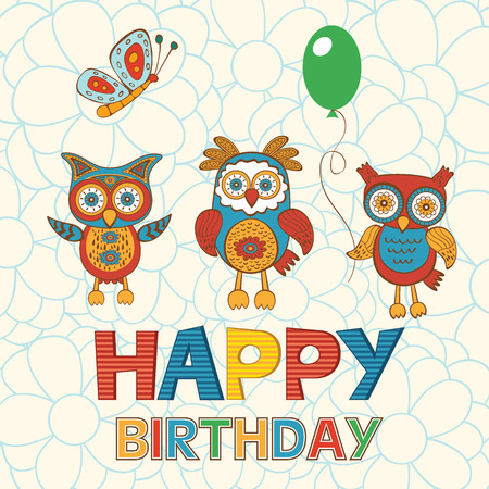 Cute Happy Birthday Card With Happy Owls Butterfly And Balloon