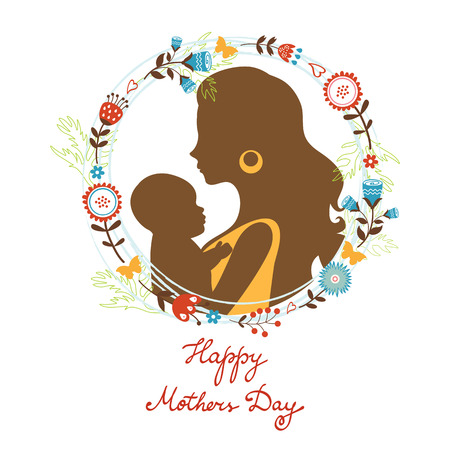 babysit: Beautiful mother with her baby silhouettes with floral wreath. Happy Mothers Day Card