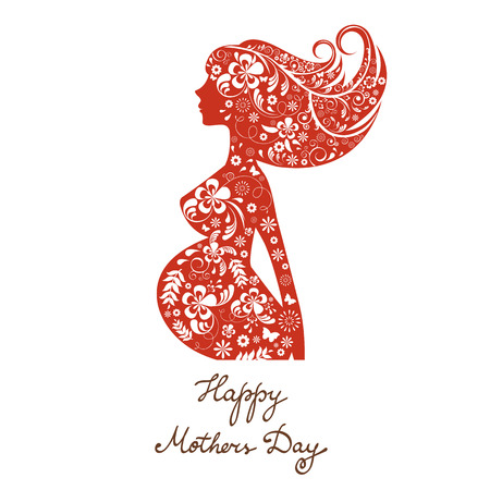 be: Beautiful mom to be floral silhouette. Happy Mothers Day Card