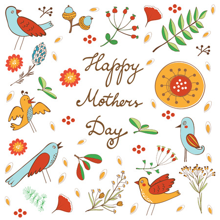 bird illustration: Happy Mothers Day card with flowers and birds. Vector illustration