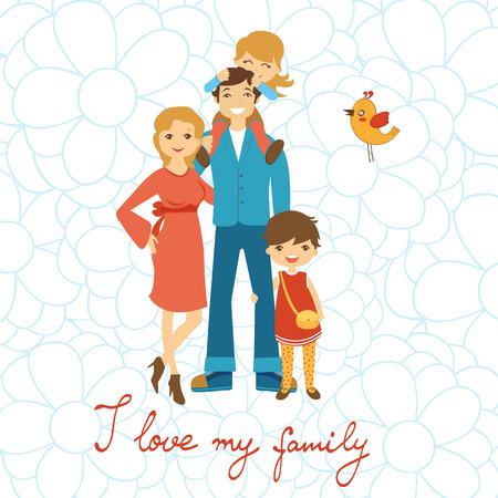 Glückliche Familie Illustration. Konzept-Karte mit Mutter, Vater und zwei Töchter im Vektor-Format. Mit handschriftlichem Text Standard-Bild - 44900003