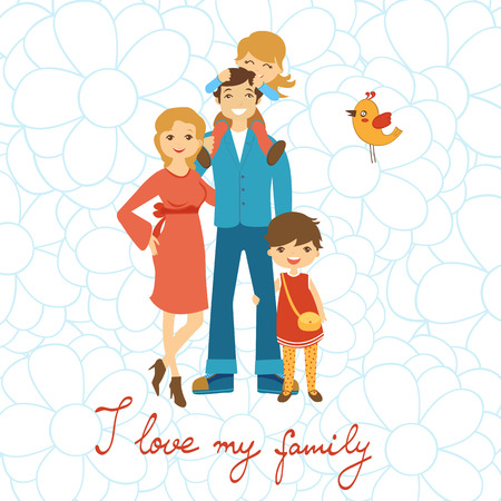 Happy family illustration. Concept card with mother, father and two daughters in vector format. With handwritten text