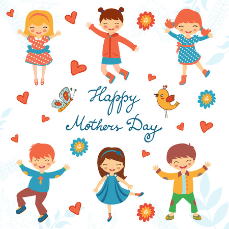 mom dad: Tarjeta feliz del día de madres con niños felices que saltan. Ilustración en formato vectorial Vectores