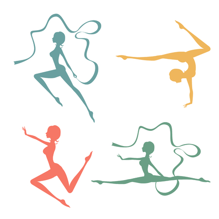acrobat gymnast: Beautiful silhouettes of gymnastic women. Vector illustration