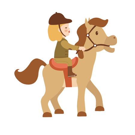 horseback riding: Cute little girl riding a horse. Vector illustration