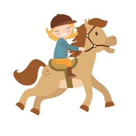 馬に乗ってかわいい女の子。ベクトル図  イラスト・ベクター素材