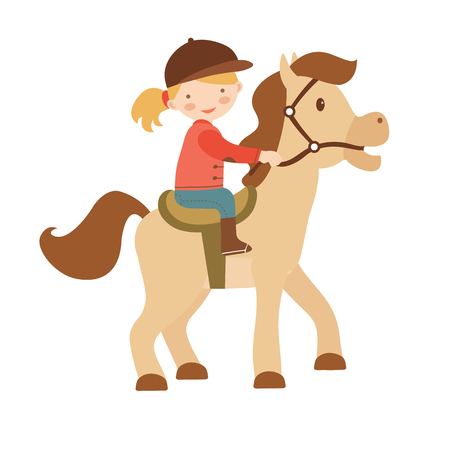 Cute little girl riding a horse. Vector illustration 版權商用圖片 - 45048263