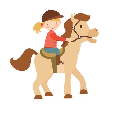 Niña linda que monta un caballo. Ilustración vectorial