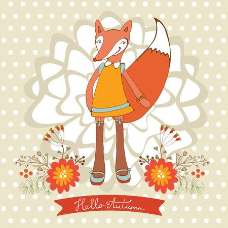 flourishing: Hello autumn elegant card with cute fox character. Vector illustration