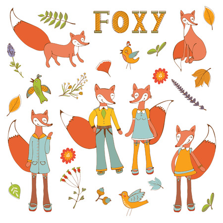 flourishing: Cute colorful foxes characters set. Vector illustration