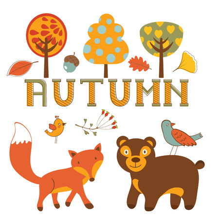 forrest: Cute autumn set with woodland creatures birds and trees. Illustration