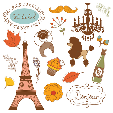 point of interest: Autumn in Paris. Elegant set with Eiffel tower flowers birds   cupcakes and other graphic elements. Vector illustration Illustration