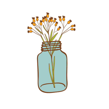 glass jar: Wild flowers in a glass jar isolated on white.