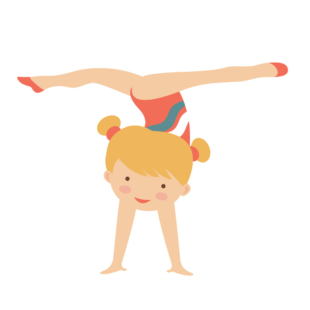Adorable little gymnast girl character.