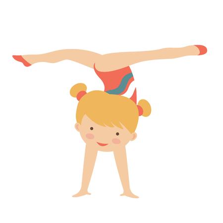 gymnast girl: Adorable little gymnast girl character.  Illustration