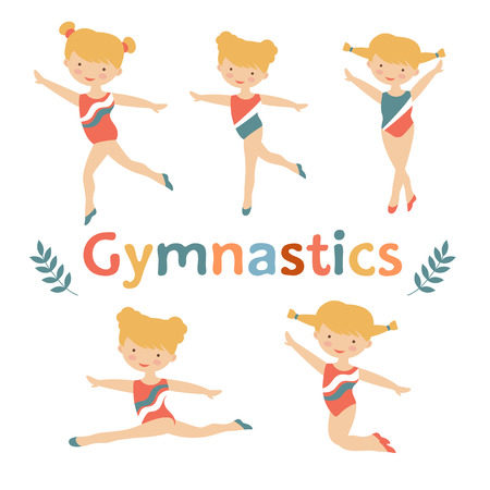 acrobat gymnast: Adorable little gymnast girls characters set.