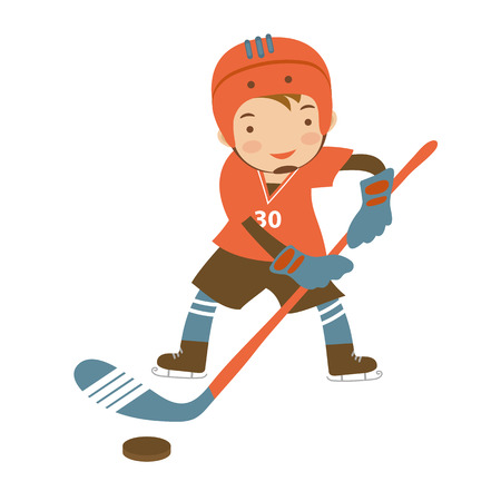hockey goal: Little hockey player character illustration in vector format Illustration