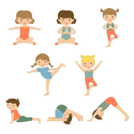 stretching: Cute yoga kids characters collection. Illustration in vector format