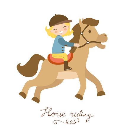 horse care: Cute little girl riding a horse. Vector illustration