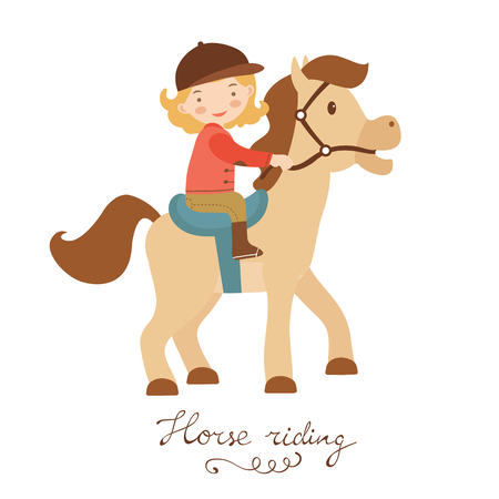 horse care: Cute little girl riding a horse. Vector illustration