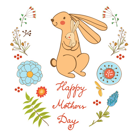 pretty baby: Happy Mothers day card with cute rabbits mom and kid. vector illustration Illustration