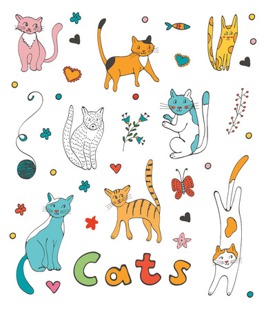 twigs: Cute colorful set  of hand drawn cats with twigs flowers and leaves. Illustration in vector format Illustration